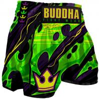 Short Muay Thai Buddha Retro Dark Green Kids